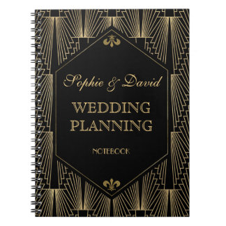 Roaring 20s Great Gatsby Art Deco Wedding Planner Notebook