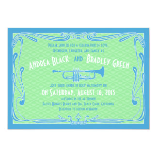 Roaring 20s Twenties Trumpet Blue Green Wedding Card