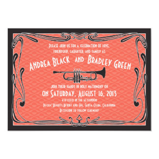 Roaring 20s Twenties Trumpet Coral Wedding Card