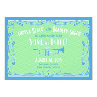 Roaring 20s Twenties Trumpet Wedding Save the Date Card