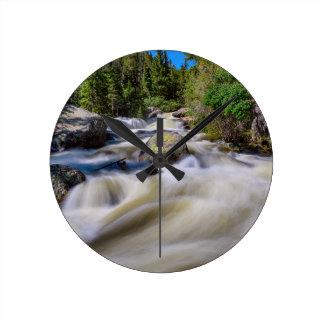 Roaring Colorado Ouzel Creek Round Clock