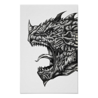 Roaring Dragon Head Poster