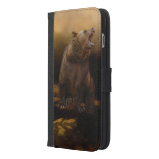 Roaring grizzly bear iPhone 6/6s plus wallet case