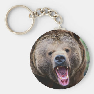 Roaring Grizzly Bear Keychain