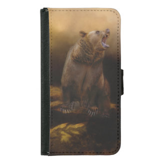 Roaring grizzly bear samsung galaxy s5 wallet case