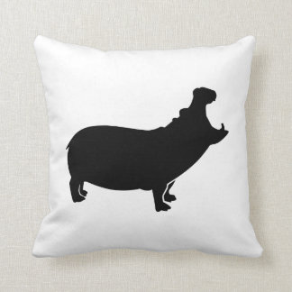 Roaring hippo throw pillow