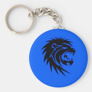 Roaring lion basic round button keychain
