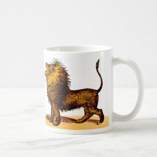 Roaring lion engraving coloured mug