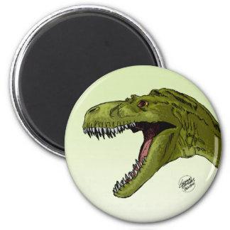 Roaring T-Rex Dinosaur by Geraldo Borges 2 Inch Round Magnet