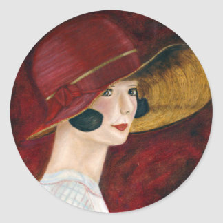 Roaring Twenties 1920s Flapper Girl in Red Hat Classic Round Sticker