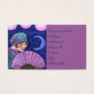 Roaring Twenties Flapper Girl Fan Moon Stars Business Card