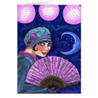 Roaring Twenties Flapper Girl Fan Moon Stars Card