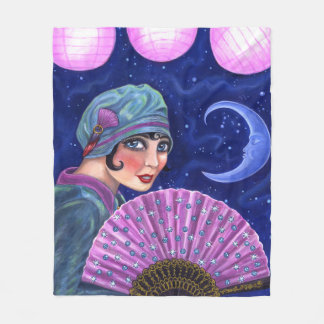 Roaring Twenties Flapper Girl Fan Moon Stars Fleece Blanket