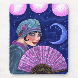Roaring Twenties Flapper Girl Fan Moon Stars Mouse Pad