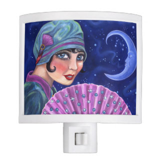 Roaring Twenties Flapper Girl Fan Moon Stars Night Lites
