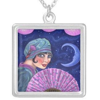 Roaring Twenties Flapper Girl Fan Moon Stars Silver Plated Necklace