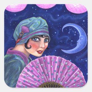 Roaring Twenties Flapper Girl Fan Moon Stars Square Sticker