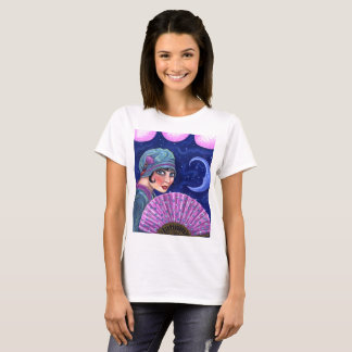 Roaring Twenties Flapper Girl Fan Moon Stars T-Shirt
