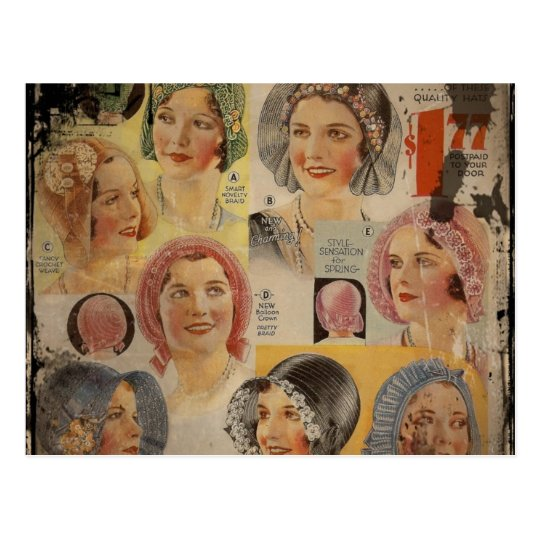 Roaring Twenties Hat Advertisement Postcard