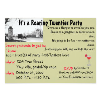 Roaring Twenties Speakeasy Theme Party Card
