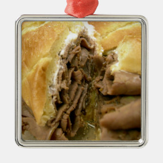 Roast beef sandwich with creamy goat cheese metal ornament