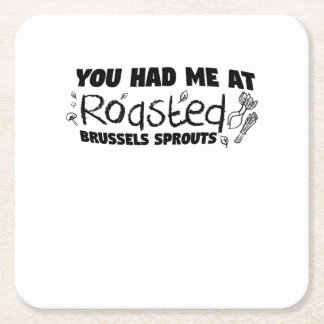 Roasted Brussels Vegetarian  Chef  Gift Square Paper Coaster