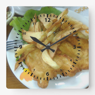 Roasted Chicken Breasts With Fried Potatoes Square Wall Clock