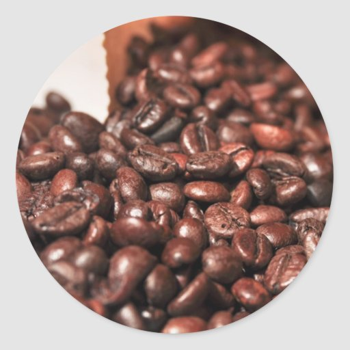 Roasted-coffee-bag1960 COFFEE BEANS GOOD MORNING H Round Stickers