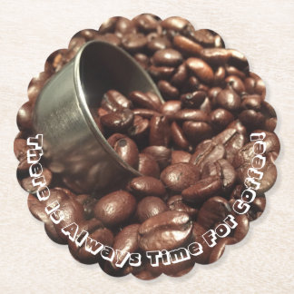 Roasted Coffee Beans With Silver Scoop Photograph Paper Coaster