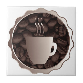 Roasted Coffee Cup Sign Ceramic Tile