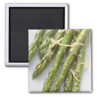 Roasted green asparagus with lemon zest, square magnet