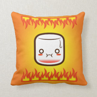 Roasted marshmallow. throw pillow