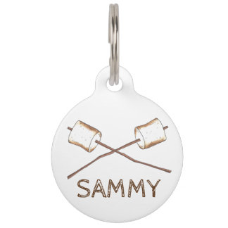 Roasted Toasted Summer Camp Campfire Marshmallow Pet Name Tag