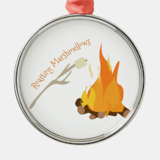 Roasting Marshmellows Silver-Colored Round Ornament