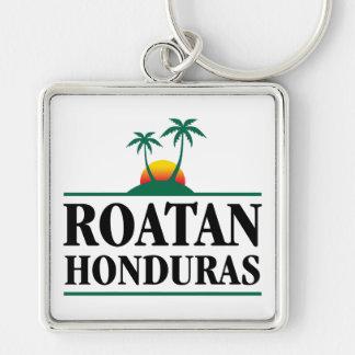 Roatan Honduras Silver-Colored Square Keychain