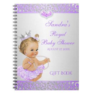 Roayl Princess Lilac Silver Diamonds Gift Guest Notebook