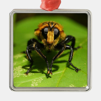 Robber Fly Silver-Colored Square Ornament