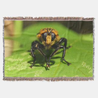 Robber Fly Throw Blanket