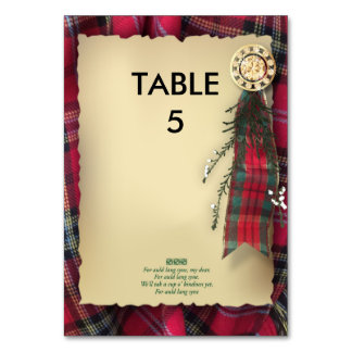 Robbie Burns Formal Table marker Table Cards