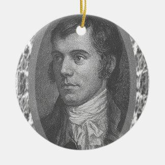 Robbie Burns Portrait (Grey) Ceramic Ornament