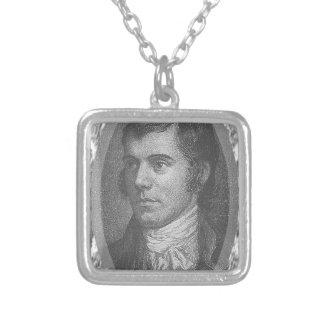 Robbie Burns Portrait (Grey) Silver Plated Necklace