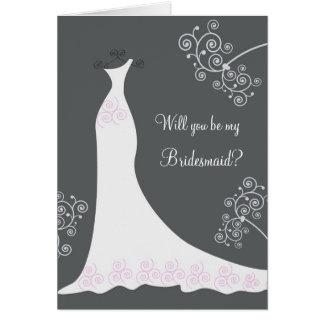 Robe de mariage blanche sur la demande noire de carte de vœux