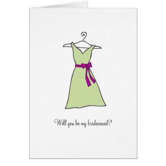 Robe de vert sauge serez-vous ma demoiselle d hon carte de vœux