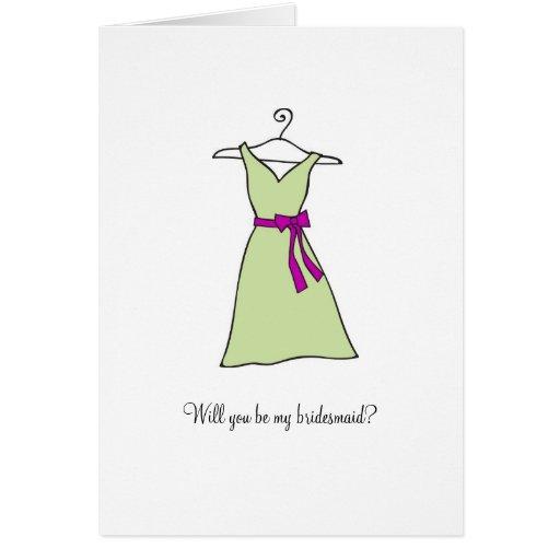 Robe de vert sauge, serez-vous ma demoiselle d'hon carte de vœux