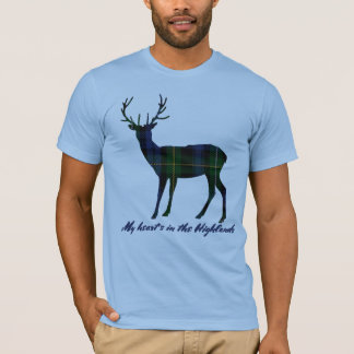 Robert Burns Quote Campbell Tartan Stag T-Shirt