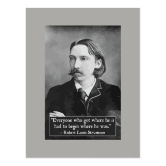Robert Louis Stevenson achievement quote postcard