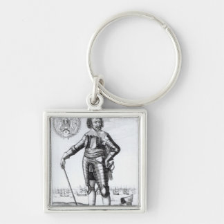 Robert Rich, 2nd Earl of Warwick Silver-Colored Square Keychain