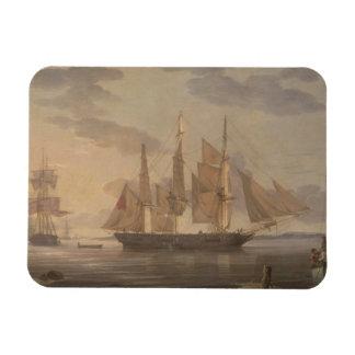 Robert Salmon - Ships in Harbor Rectangular Photo Magnet