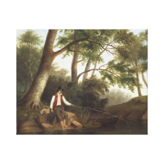 Robert Scott Duncanson - Man Fishing Canvas Print