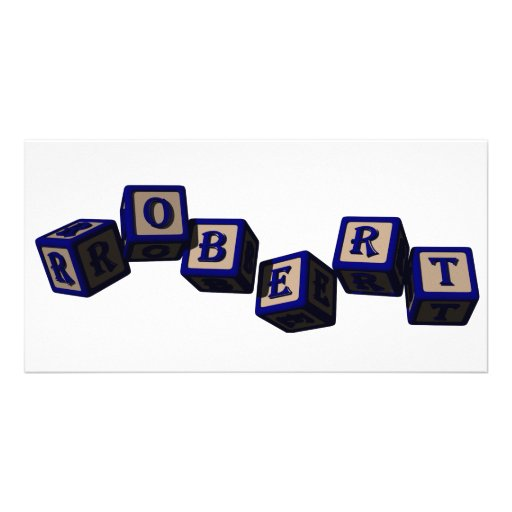Robert toy blocks in blue picture card